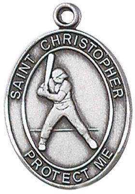 St. Christopher Sports Medal-Baseball silver necklace, st. christopher necklace, sports necklace, girl necklace, boy necklace, athlete gift,  first communion gift, reconciliation gift, sacramental gift, sport gift,baseball gift, baseball medal
