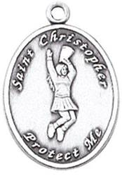 St. Christopher Sports Medals-Cheerleading silver necklace, st. christopher necklace, sports necklace, girl necklace, boy necklace, athlete gift,  first communion gift, reconciliation gift, sacramental gift, sport gift, cheerleading gift, cheerleading medal