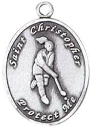 St. Christopher Sports Medals-Field Hockey silver necklace, st. christopher necklace, sports necklace, girl necklace, boy necklace, athlete gift,  first communion gift, reconciliation gift, sacramental gift, sport gift, field hockey gift, field hockey medal
