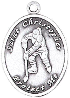 St. Christopher Sports Medals-Hockey (Women) silver necklace, st. christopher necklace, sports necklace, girl necklace, boy necklace, athlete gift,  first communion gift, reconciliation gift, sacramental gift, sport gift, hockey gift, hockey medal
