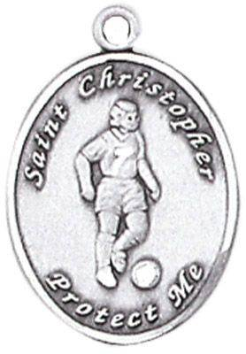 St. Christopher Sports Medals-Soccer (Women) silver necklace, st. christopher necklace, sports necklace, girl necklace, boy necklace, athlete gift,  first communion gift, reconciliation gift, sacramental gift, sport gift, soccer gift, soccer medal