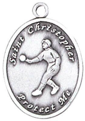 St. Christopher Sports Medals-Softball (Women) silver necklace, st. christopher necklace, sports necklace, girl necklace, boy necklace, athlete gift,  first communion gift, reconciliation gift, sacramental gift, sport gift, softball gift, softball medal