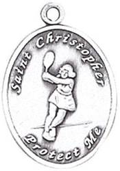 St. Christopher Sports Medals-Tennis (Women) silver necklace, st. christopher necklace, sports necklace, girl necklace, boy necklace, athlete gift,  first communion gift, reconciliation gift, sacramental gift, sport gift, tennis medal, tennis gift