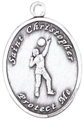 St. Christopher Sports Medals-Volleyball (Women) silver necklace, st. christopher necklace, sports necklace, girl necklace, boy necklace, athlete gift,  first communion gift, reconciliation gift, sacramental gift, sport gift
