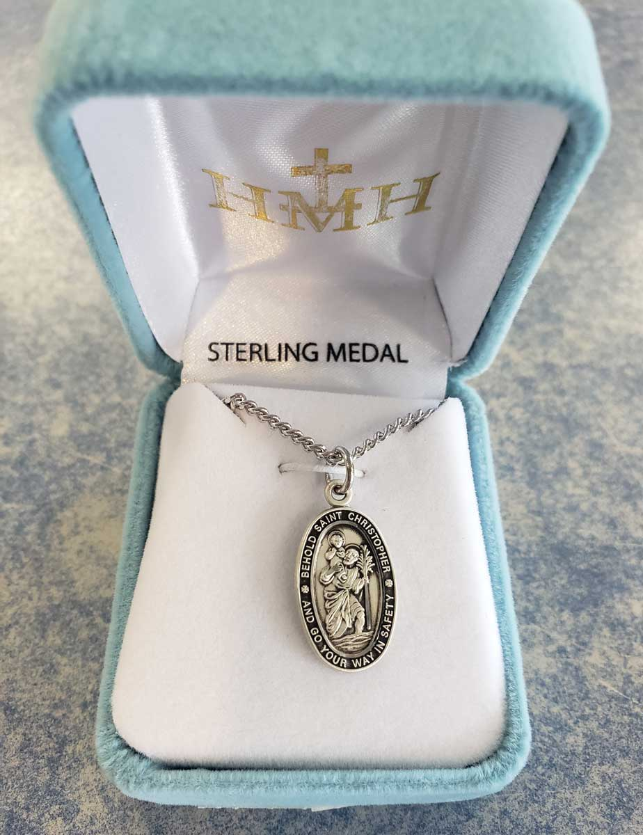 "St. Christopher Sterling Silver Medal??? on 18"" Chain"