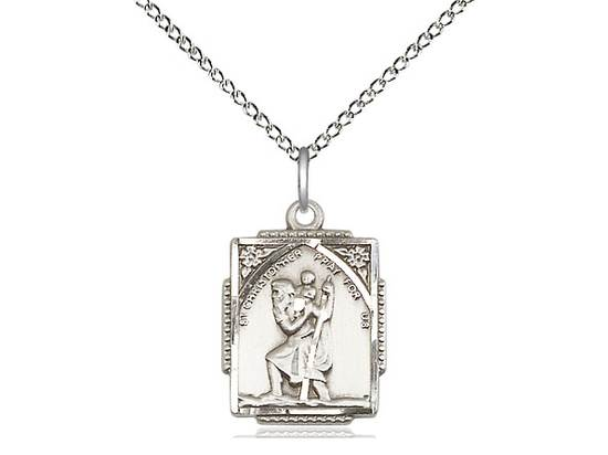 "St. Christopher Sterling Silver Medal on 18"" Chain"
