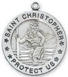 "St. Christopher Round Sterling Silver Medal on 24"" Chain"