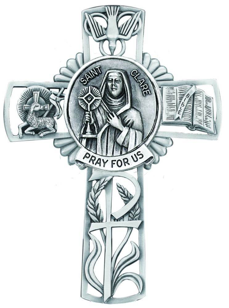 St. Clare Pewter Wall Cross
