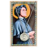 "ST ELIZABETH ANN SETON PRAYER CARD SET WITH PEWTER MEDAL WITH 18"" SILVERTONE CHAIN & LAMINATED HOLY CARD"