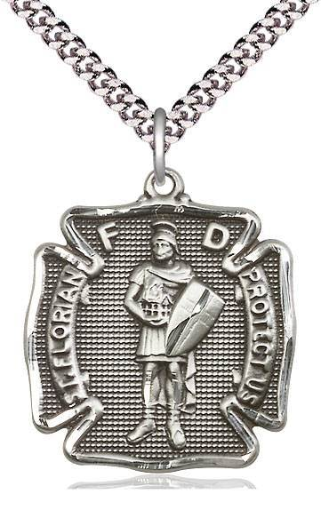 "St. Florian Sterling Silver Medal on 24"" Chain"