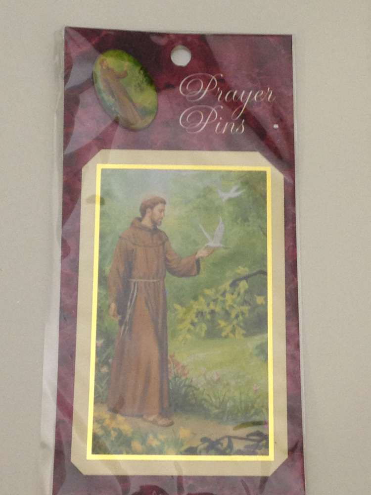 St. Francis Prayer Card and Lapel Pin
