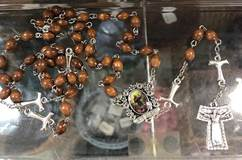 St. Francis of Assisi Brown Wood Rosary