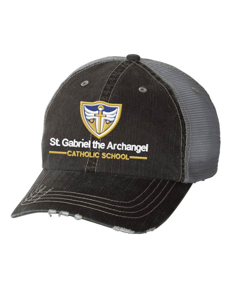 St. Gabriel Mesh Distressed Black/Grey Trucker Ball Cap