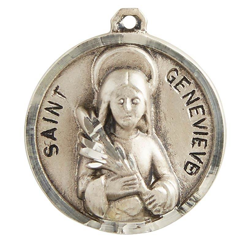 "St. Genevieve Sterling Silver Pendant on 18"" Chain"