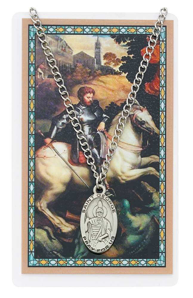 St. George Pewter Medal and Holy Card Set