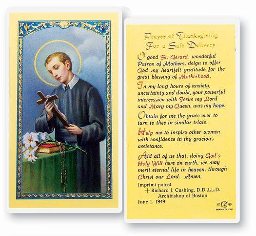 St. Gerard Prayer of Thanksgiving for a Safe Delivery Laminated Prayer Card
