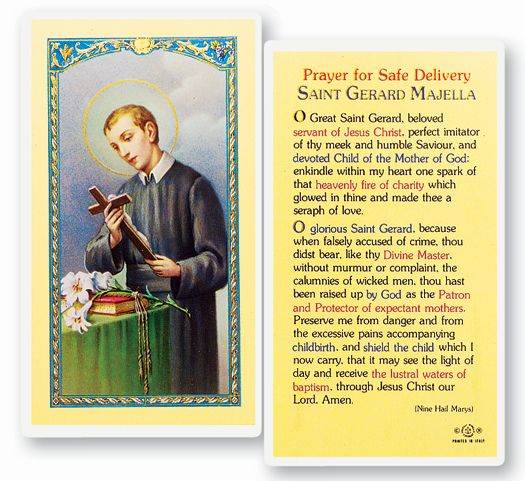 St. Gerard Safe Delivery Laminated Prayer Card