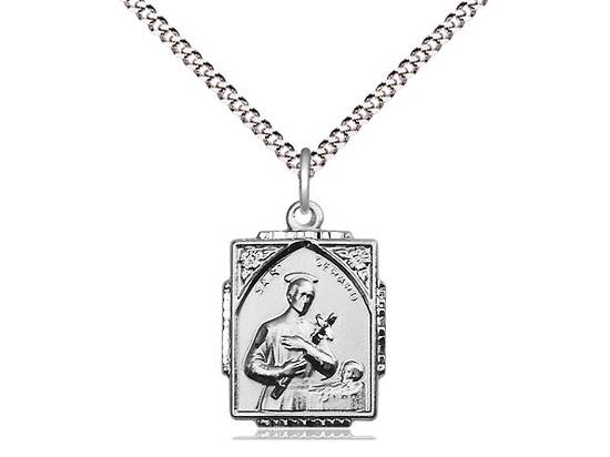 Sterling Silver St Gerard Pendant on a 18 inch Light Rhodium Light Curb Chain