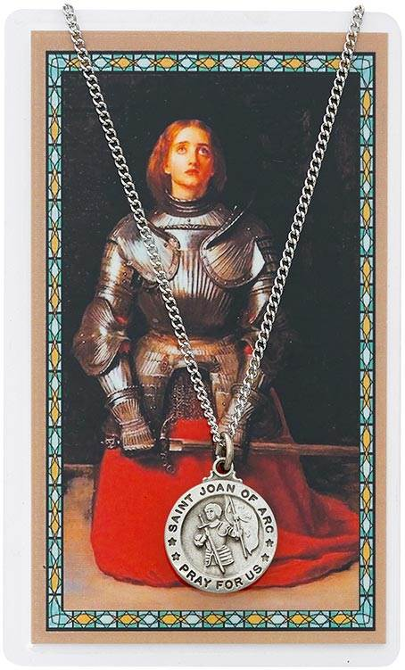 St. Joan Of Arc Pendant and Holy Card Set
