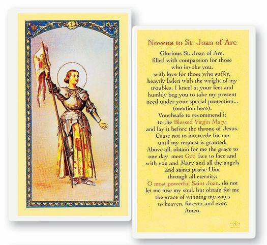 St. Joan of Arc Laminated Novena Prayer Card