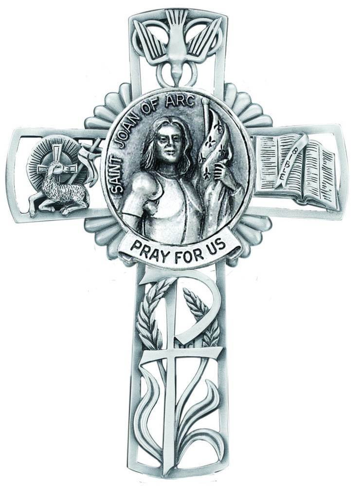 St. Joan of Arc Pewter Wall Cross