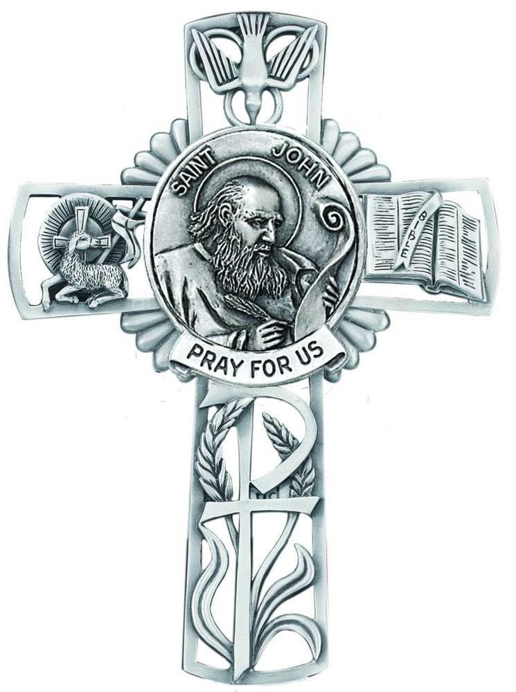 St. John The Apostle Pewter Wall Cross