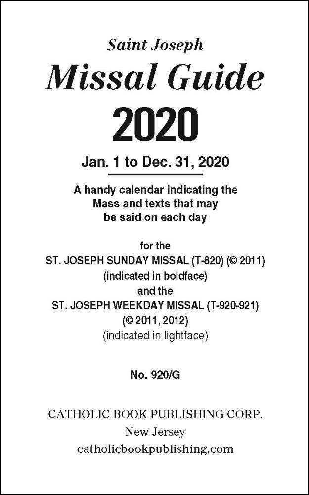 St. Joseph Missal Guide for Sunday and Weekday
