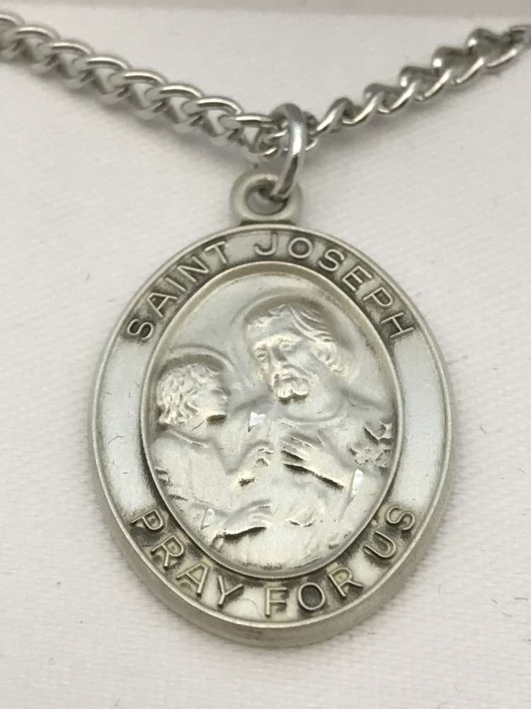 St. Joseph Oval Medal on Chain JC-911/1MFT,patron saint medal, sterling silver medal, chain, necklace, pendant, first communion gift, confirmation gift, sacramental gift,