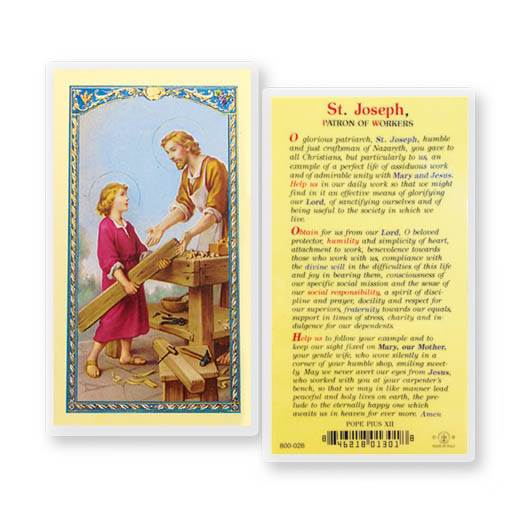 St. Joseph Patron Of Workers Holy Card