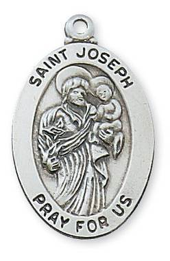 "St. Joseph Sterling Silver Medal on 20"" chain"