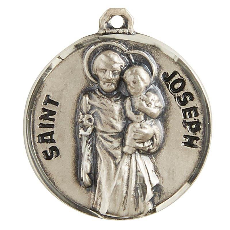 "St. Joseph Sterling Silver Pendant on 20"" Chain"