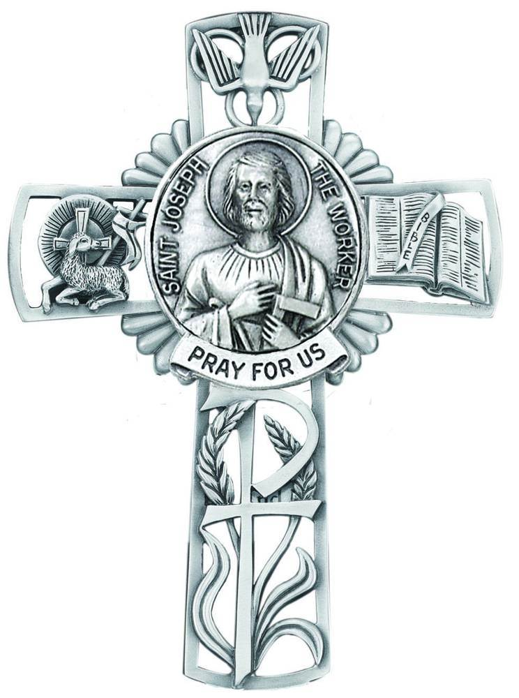 St. Joseph The Worker Pewter Wall Cross