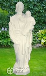 "St. Joseph and Child 24"" White Finish Vinyl Indoor/Outdoor Statue"