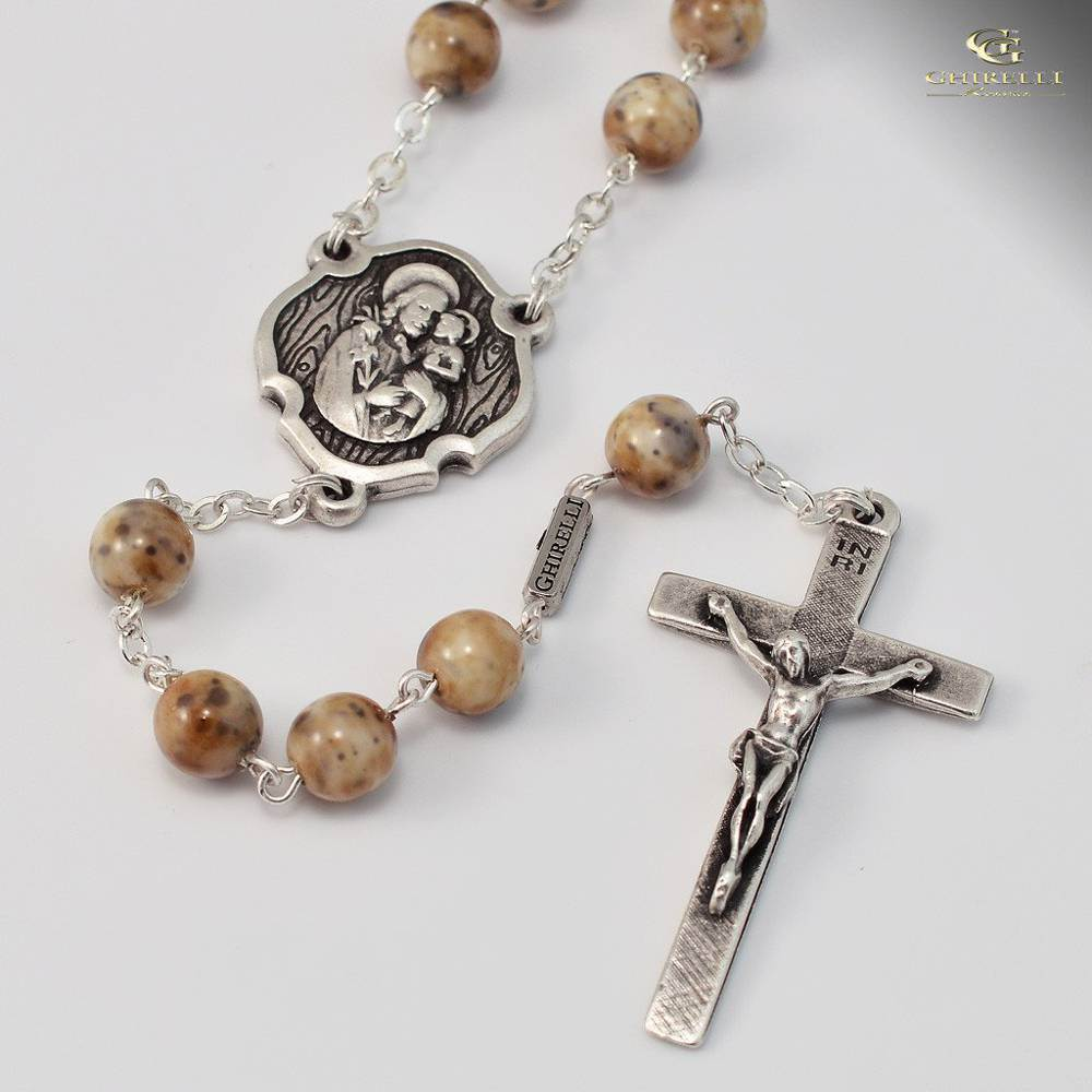 St. Joseph in Antique Silver Rosary