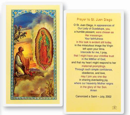 St. Juan Diego Laminated Prayer Card