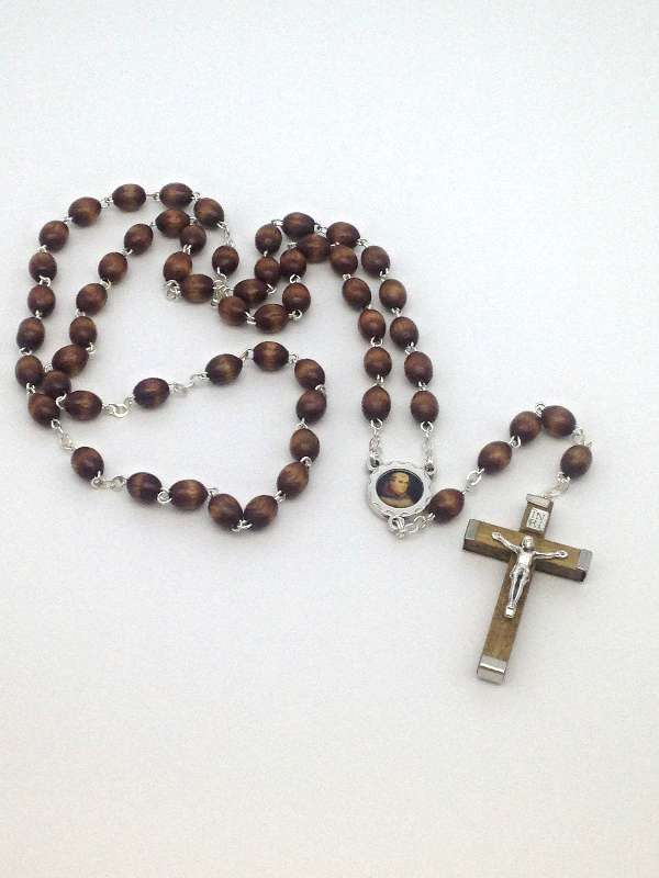 St. Junipero Serra Brown Wood Bead Rosary