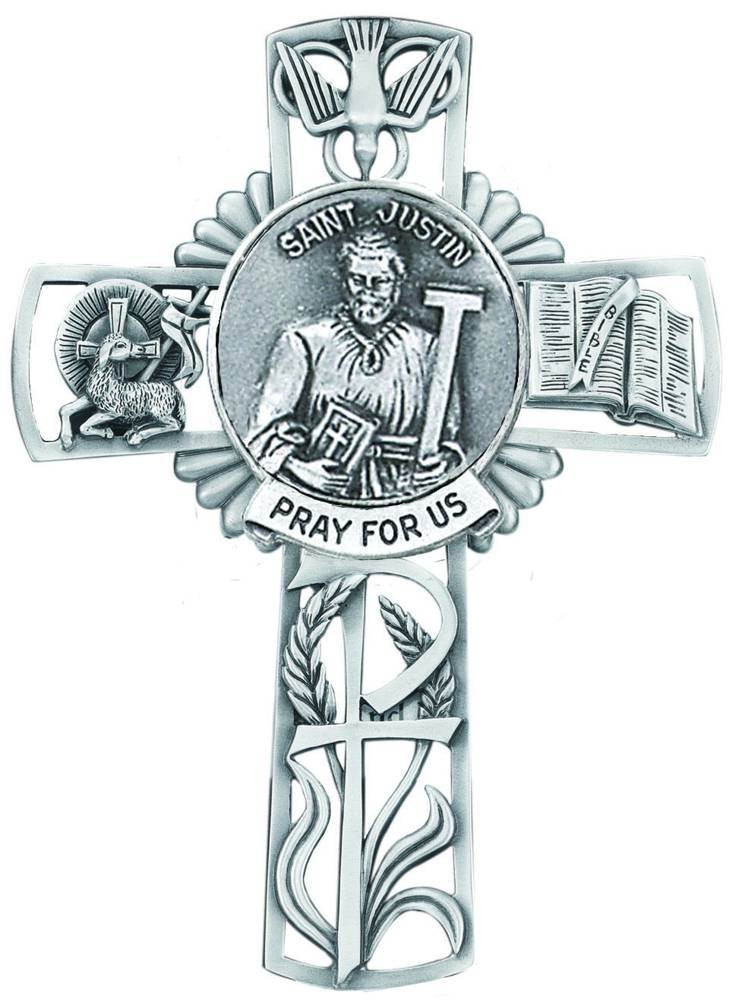 St. Justin Pewter Wall Cross