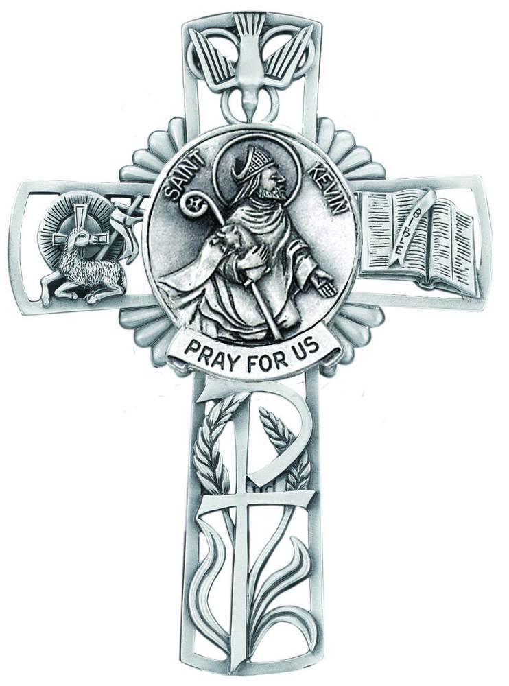 St. Kevin Pewter Wall Cross