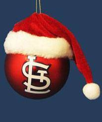 St. Louis Cardinals Glass Ball Ornament with Santa Hat baseball, sports ornament, ball ornament, cardinals, cardinal ornament, cardinal
