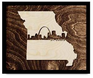 "St. Louis Framed City Skyline, 13"" x 16"""