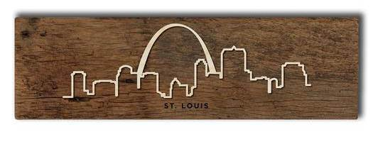 "St. Louis Reclaimed Barn Wood City Scape, 4"" x 9"""