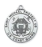 "St. Michael Coast Guard Sterling Silver Medal on 24"" Chain"