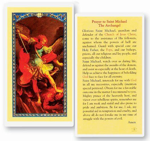 Prayer To St. Michael Laminated Prayer Card
