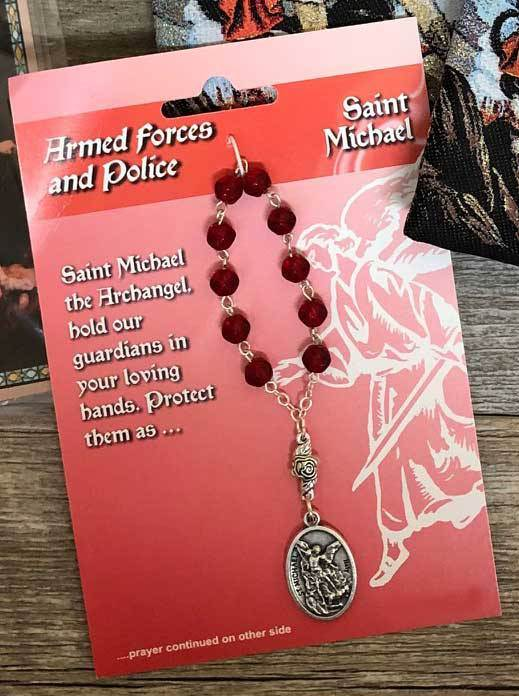 One Decade Rosary- St Michael Armed Forces & Police Prayer Red Beads
