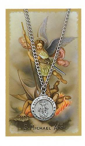 St. Michael Pendant and Laminated Holy Card st. michael, holy card, prayer card, st michael the archangel, laminated card, pocket card, pendant, necklace, st. michael necklace, PSD600MK