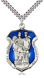 "St Michael Police Sterling with Blue Enamel Police Shield on 24"" Chain"