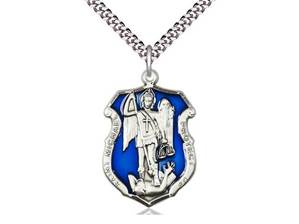 "St Michael the Archangel Sterling with Blue Enamel Police Shield on 24"" Chain"