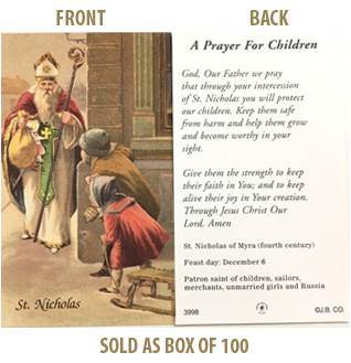 St. Nicholas 'A Prayer for Children' Paper Prayer Card, Pack of 100