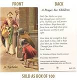 St. Nicholas A Prayer for Children Paper Prayer Card, Pack of 100