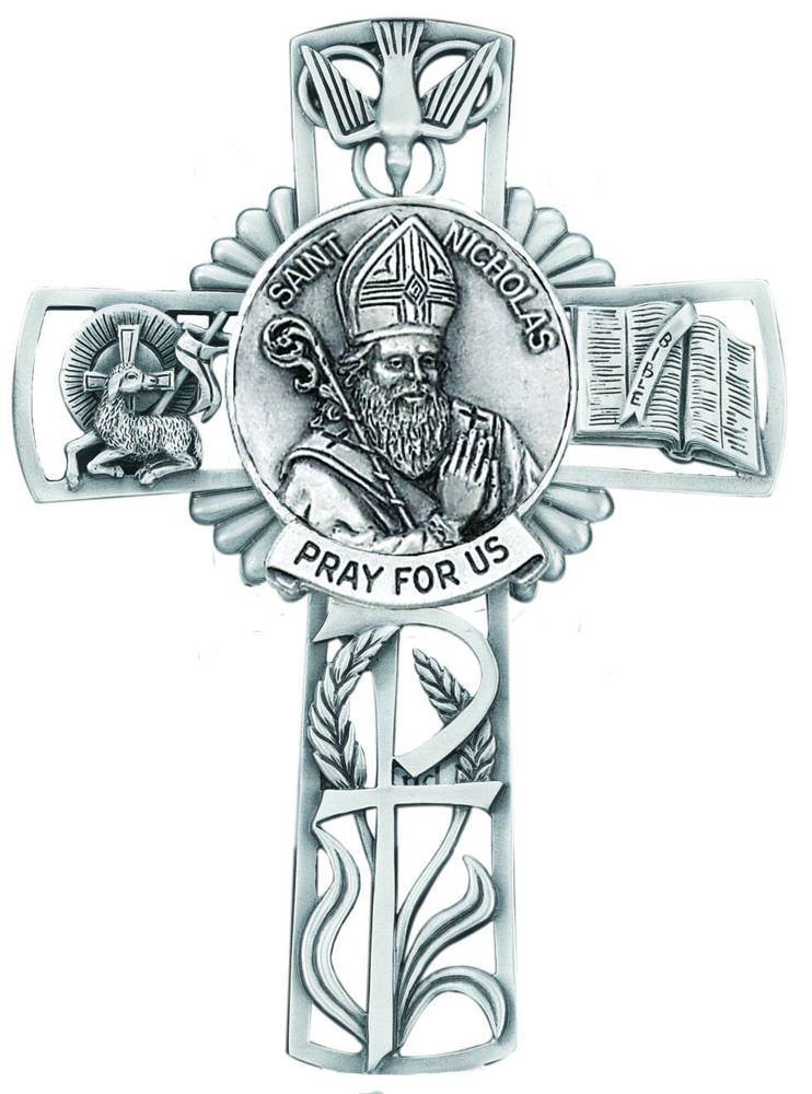 St. Nicholas Pewter Wall Cross